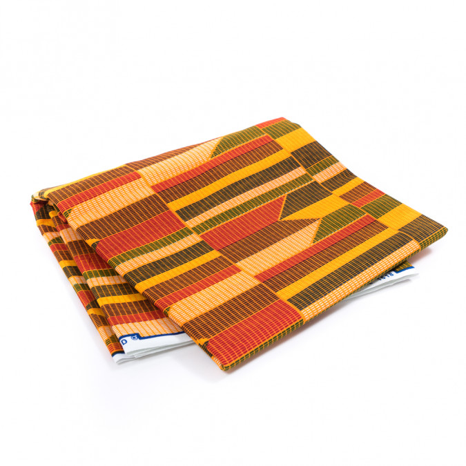 apricot geometric waxed cotton african print 317776 11