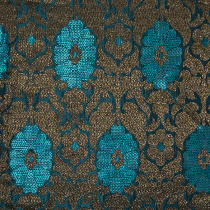 aqua and metallic gold geometric floral jacquard 318328 11