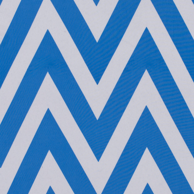azure blue white zig zag printed polyester crepe de chine 311647 11