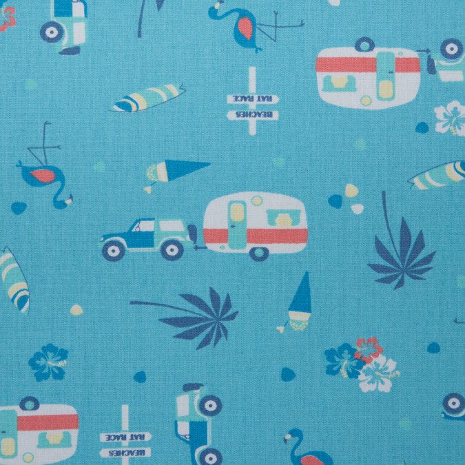 bachelor blue persimmon printed trailers palm trees ice cream and flamingos on cotton poplin 310722 11
