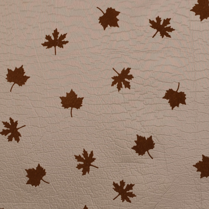 beige and gray fused double cloth flocked with brown leaves 312115 11