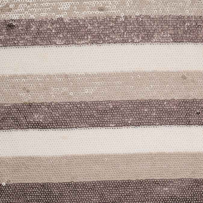 beige brown white striped baby sequins on polyester mesh 306160 11