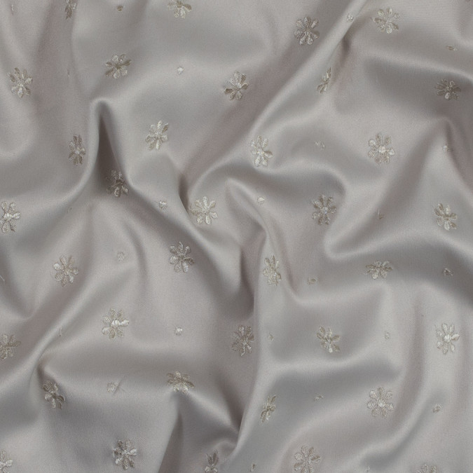 beige satin faced polyester twill with emboirdered floral design 318983 11