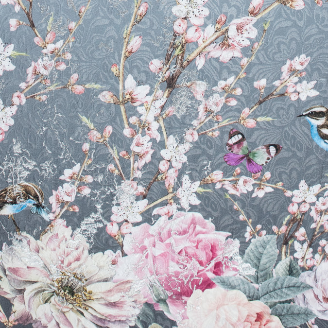 birds and branches digitally printed on a gray butterfly jacquard with metallic silver embroidery 116524 11