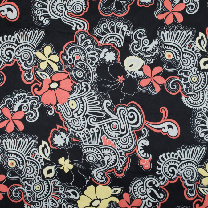 black red yucca and linden green floral printed silk charmeuse 315720 11