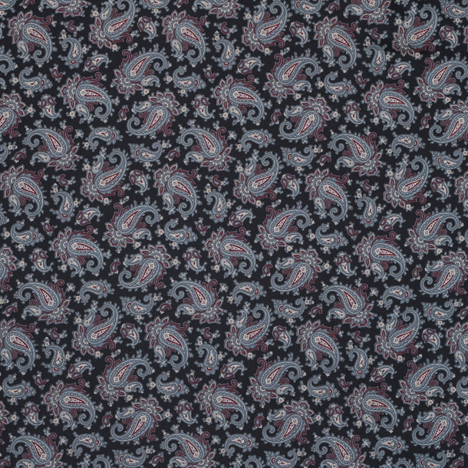 black slate and wine paisley printed silk twill 319312 11