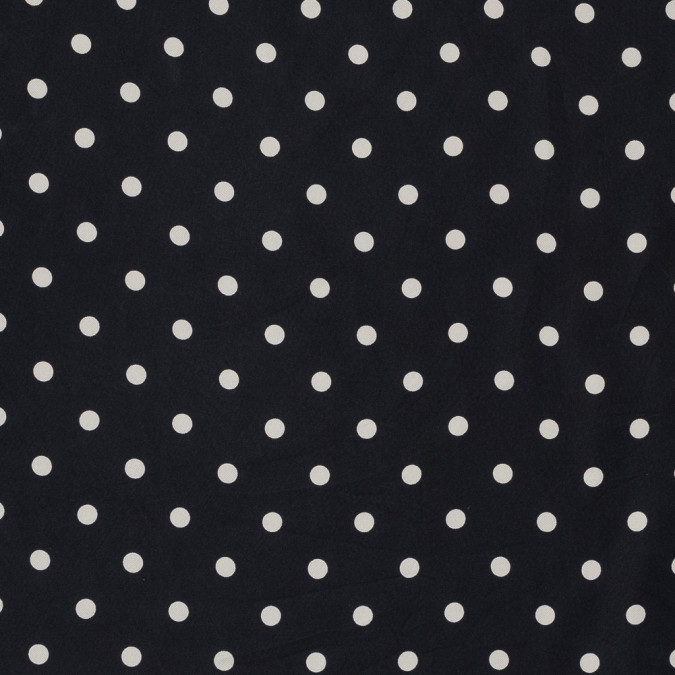 black and beige polka dotted silk twill 319313 11