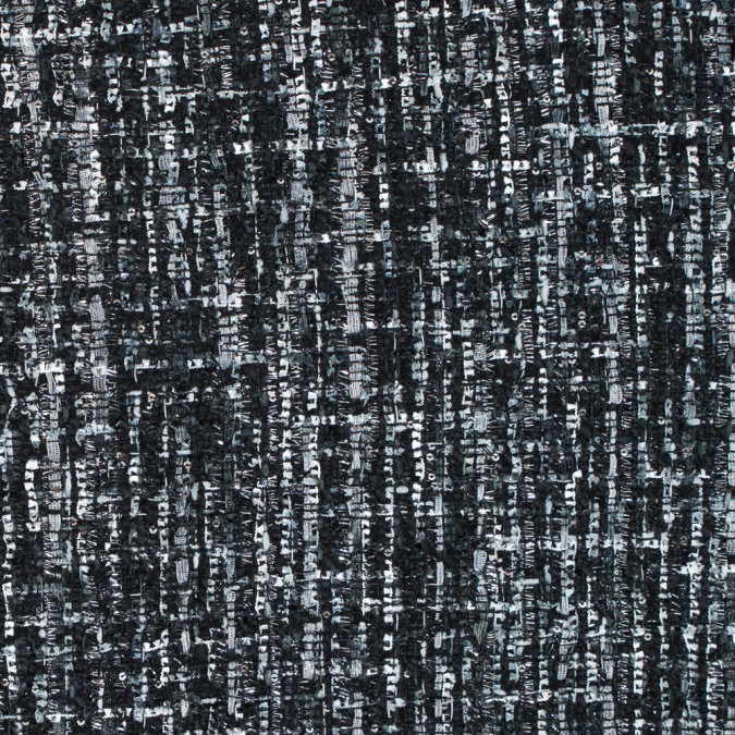 black and gray polyester tweed with silver metallic shimmer 313012 11