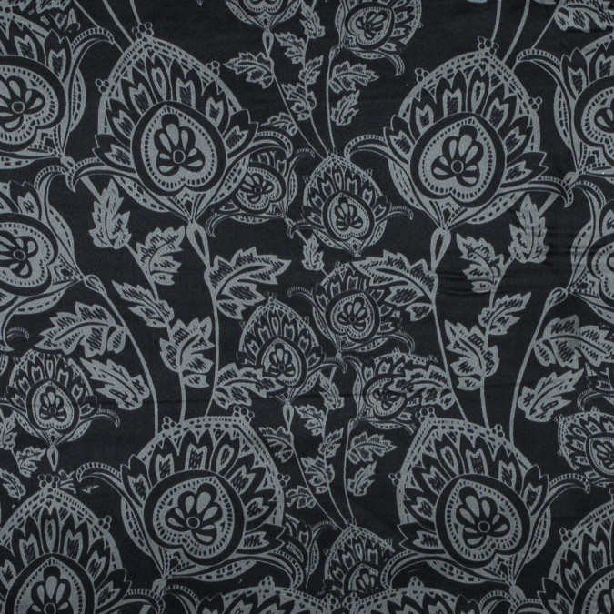 black and neutral gray floral printed silk charmeuse 315702 11