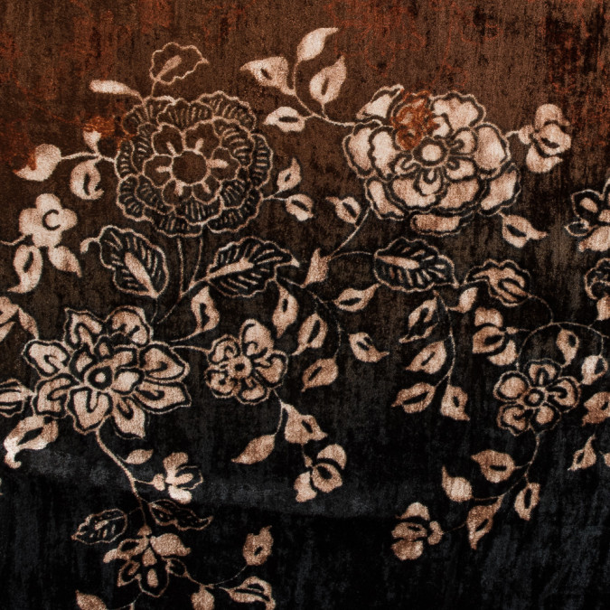 black and rust floral printed crinkled velvet 315006 11