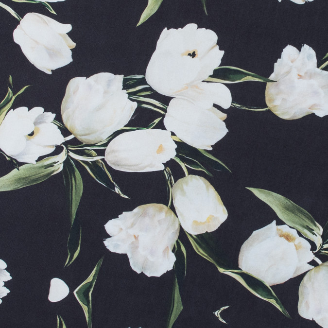 black and whisper white digitally printed flowers on a premium mikado twill 116031 11