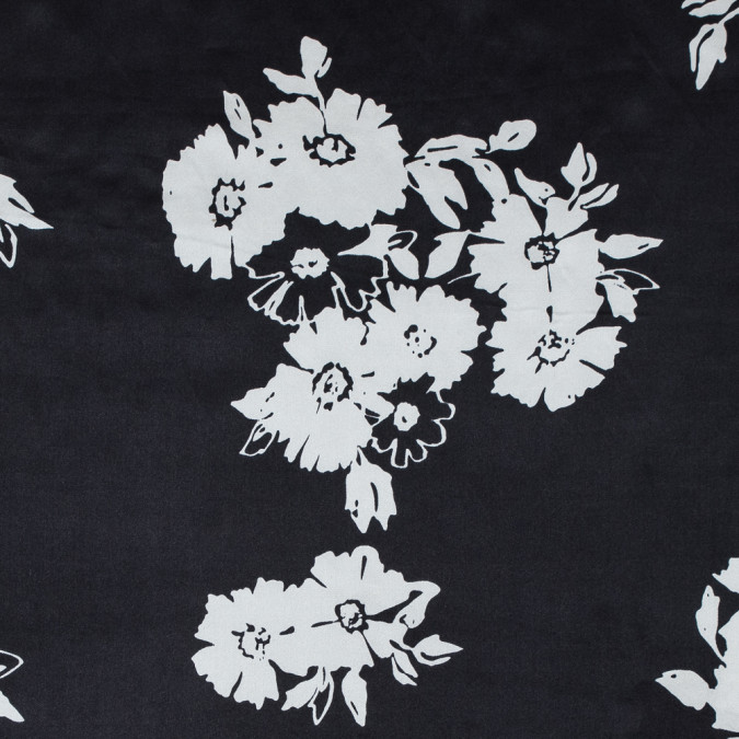 black and white floral printed silk charmeuse 315701 11