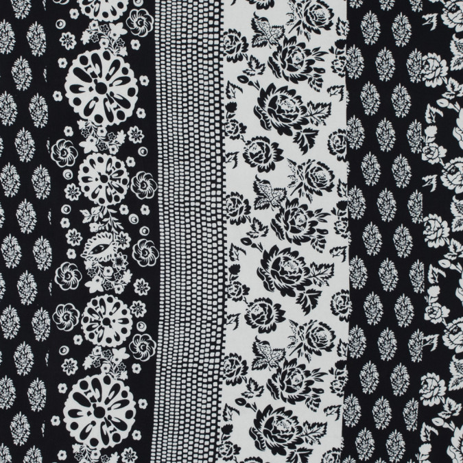black and white floral printed silk charmeuse 315725 11