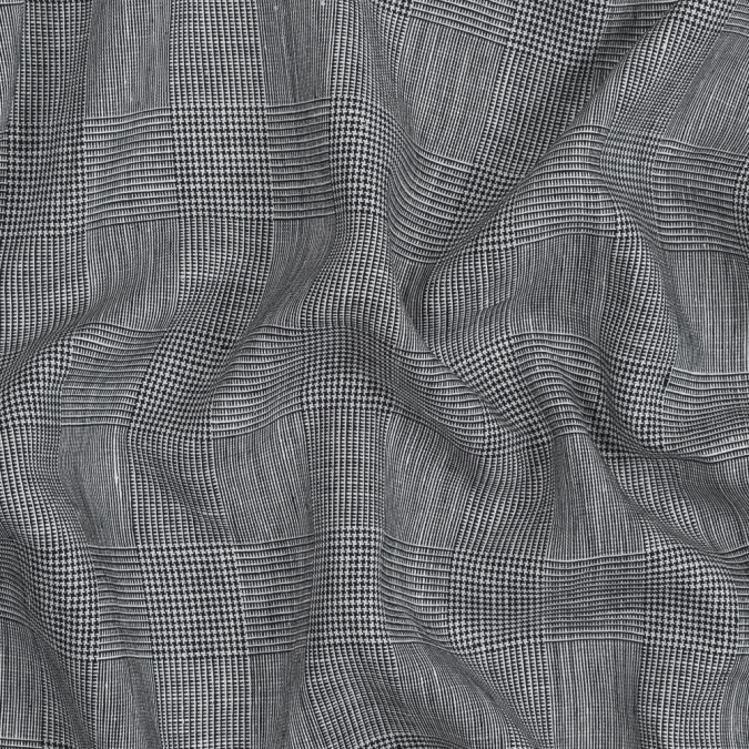black and white glen plaid cotton and linen woven 319117 11