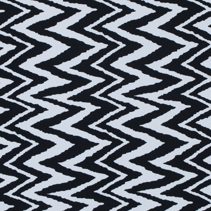 black and white zig zag printed polyester spandex 313477 11