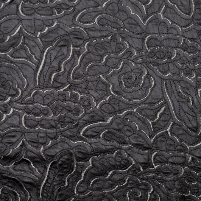 black faux leather embroidered netting 109217 11