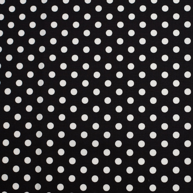 black white polka dotted stretch cotton twill 306376 11