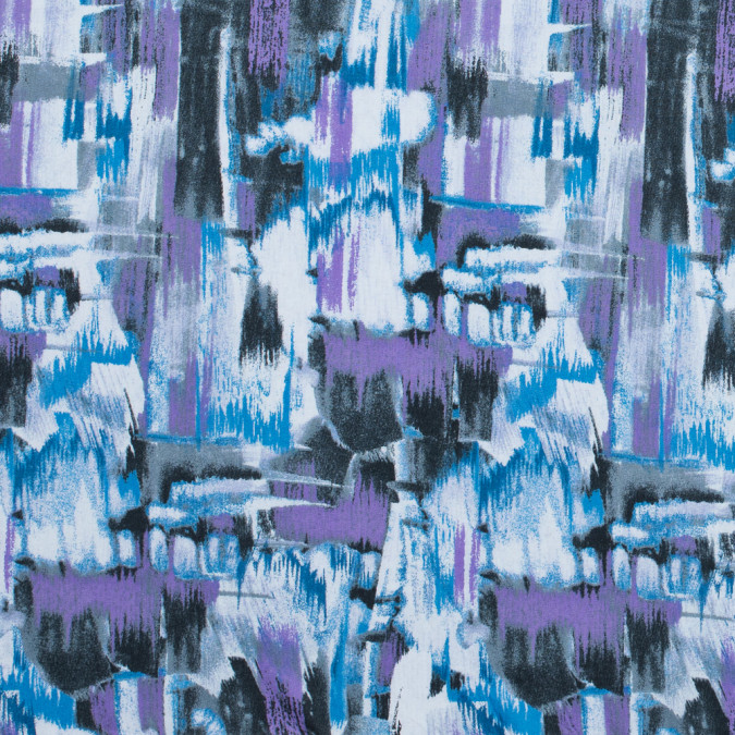 blithe blue and hyacinth purple abstract printed cotton poplin 117303 11