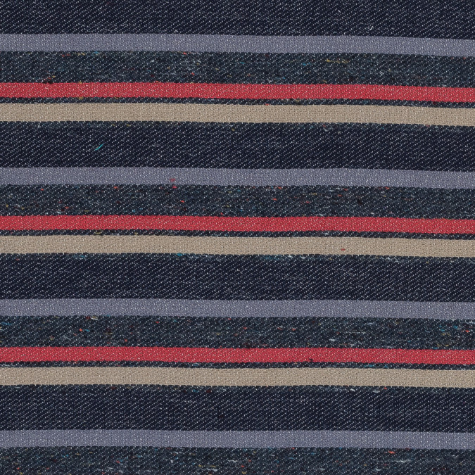 blue beige and red barcode striped japanese cotton woven with herringbone backside 318876 11