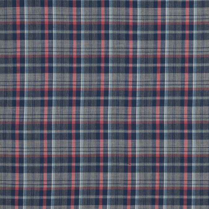 blue gray and coral plaid japanese cotton shirting 318901 11