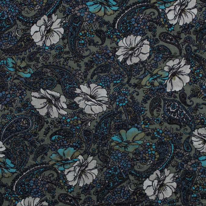 blue and green paisley stretch cotton corduroy 319323 11