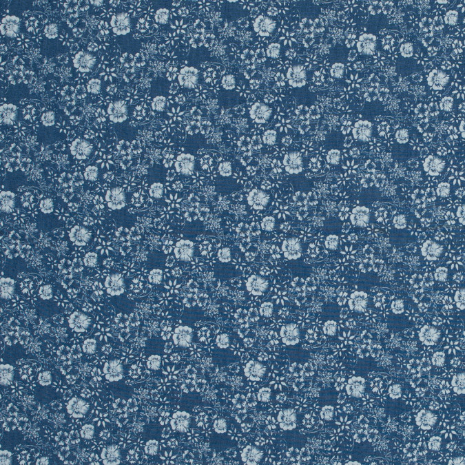 blue and white floral printed cotton chambray 318148 11