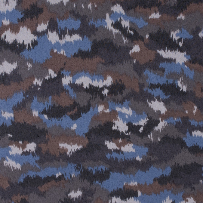 blue brown abstract printed polyester chiffon 311741 11