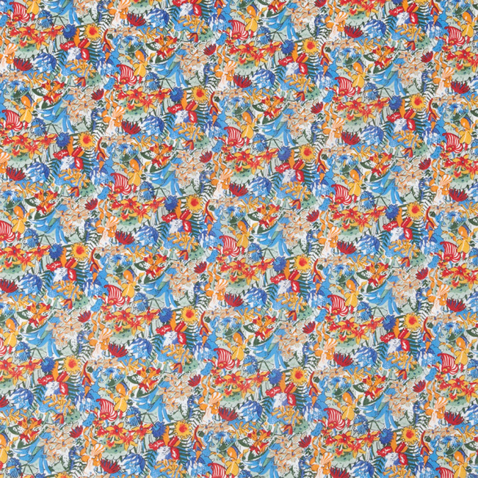 blue orange red floral printed combed cotton voile 308399 11
