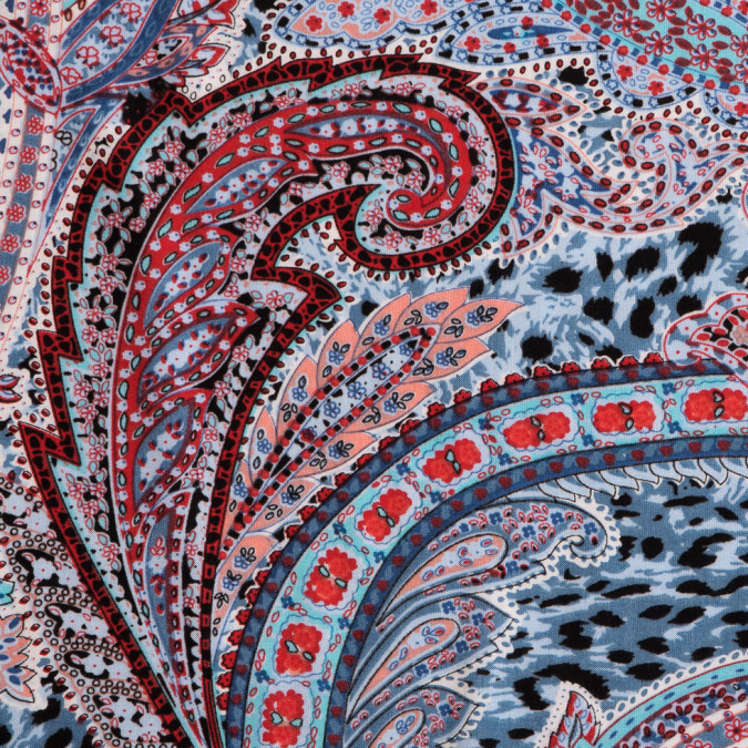 blue red paisley viscose voile print 111272 11