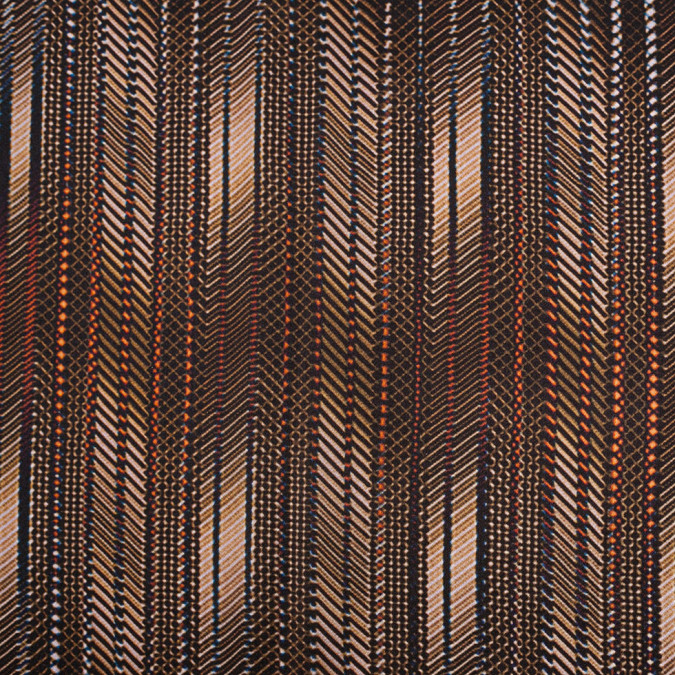 brown abstract striped satin faced silk georgette 305994 11