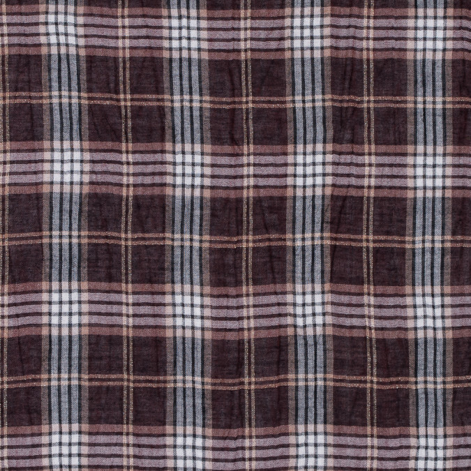 brown and metallic gold plaid wool gauze 311952 11
