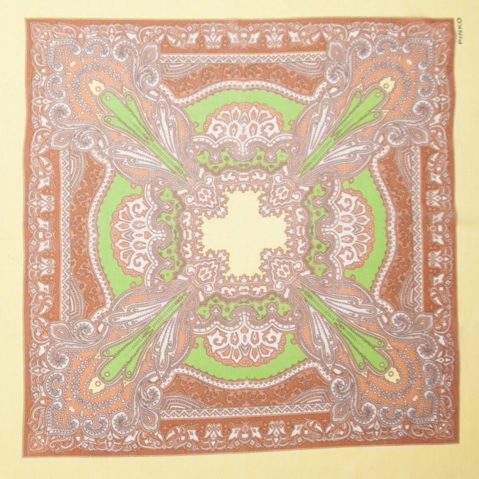 brown green yellow silk chiffon border printed panel 307086 11