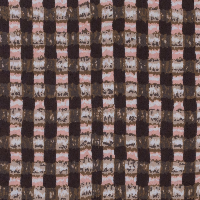 brown olive pink abstract gingham polyester chiffon 311685 11