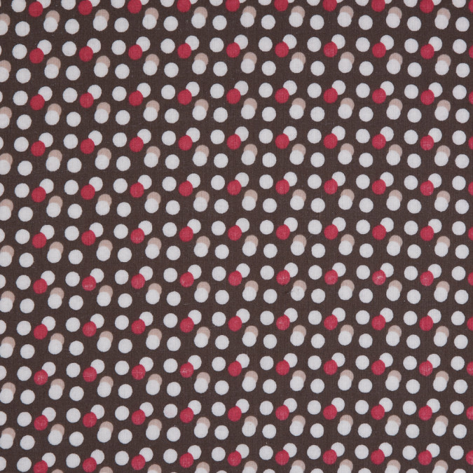 brown red circle printed combed cotton voile 113936 11