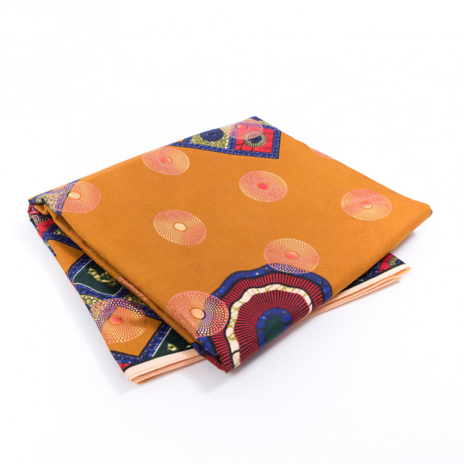 butterscotch waxed cotton african print with inlaid print and metallic ombre foil 317782 11