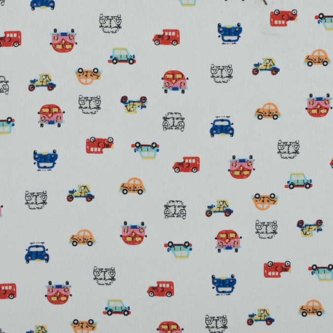 cars printed on an off white polyester crepe de chine 311637 11