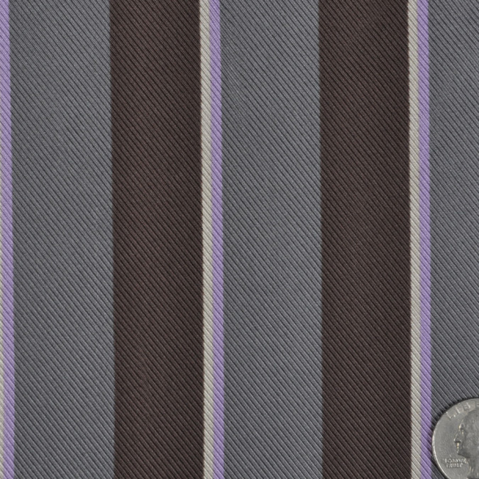 charcoal gray and dark coffee striped silk twill fs12408 11