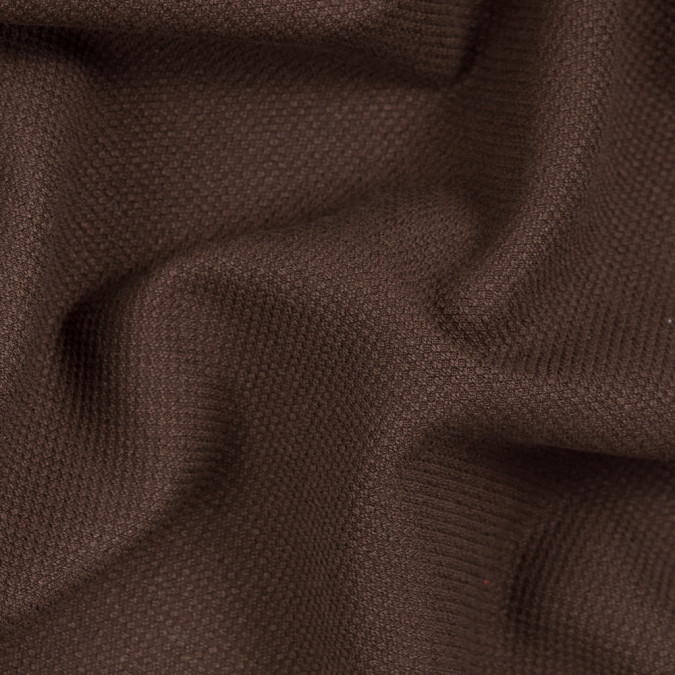 chocolate brown stretch cotton pique 310699 11
