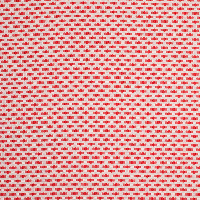 coral and ivory polka dotted polyester jacquard 107416 11