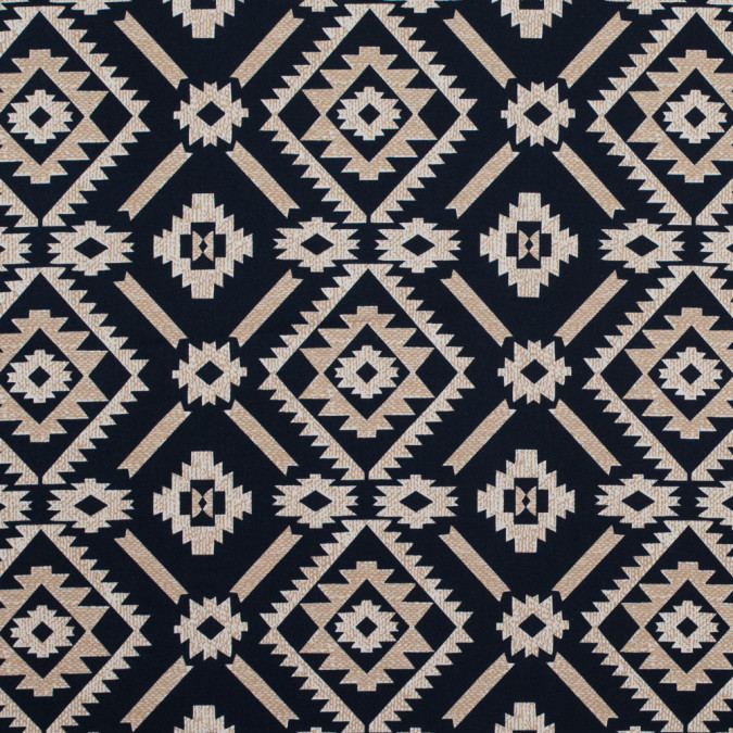 dark navy and beige geometric printed stretch cotton sateen 314630 11
