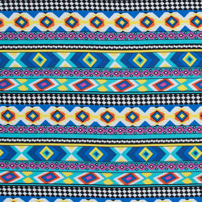 deep ultramarine and yellow navajo tribal printed rayon challis 317461 11