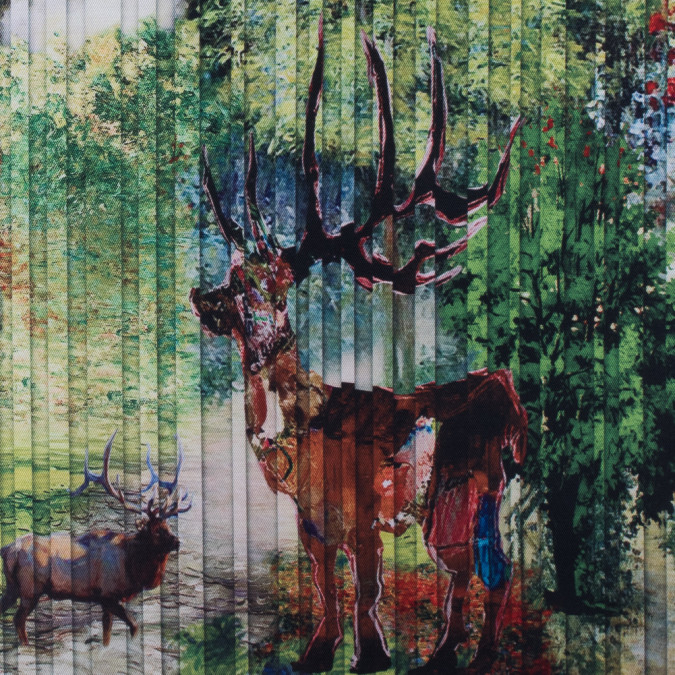 digitally printed pleat imitation deer in a forest on a mikado twill 115261 11