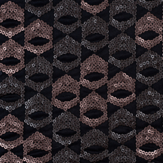 dusty rose pale black sequined netting 308090 11