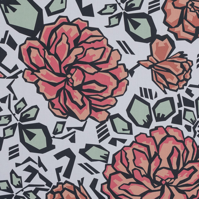 european coral and white geometric floral cotton poplin 119310 11