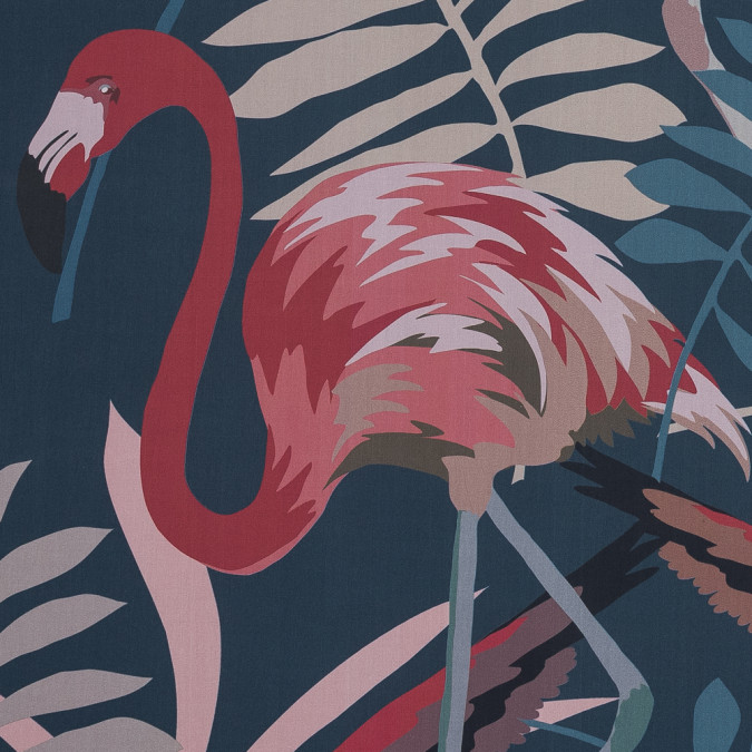 european navy and sun baked red flamingo printed cotton poplin 119318 11