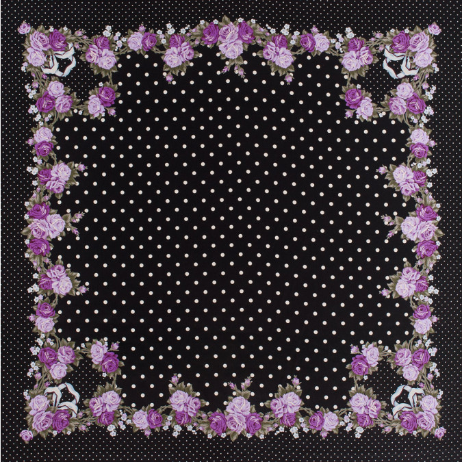 famous designer black silk floral dotted crepe de chine panel 303120 11
