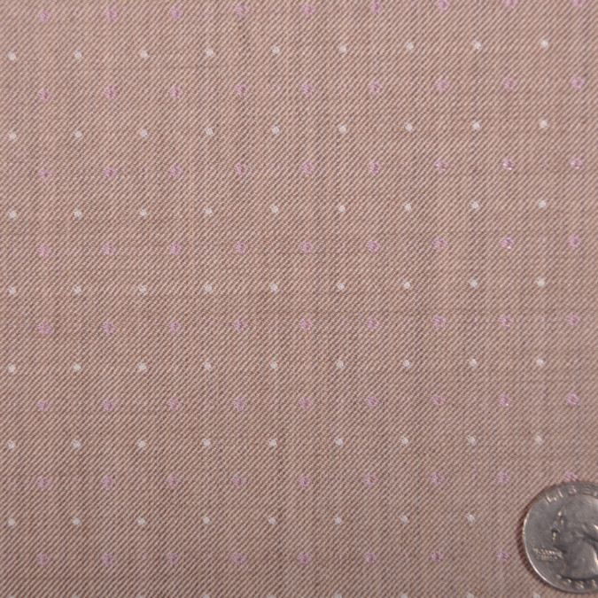 famous designer italian beige and lavender dotted wool suiting fw11044 11