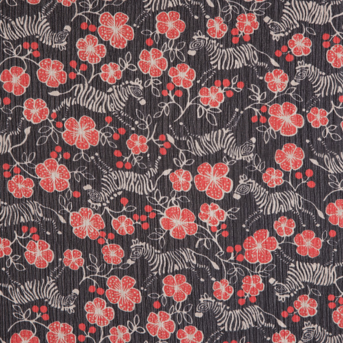 famous designer red black zebra and floral printed crinkled chiffon 310221 11