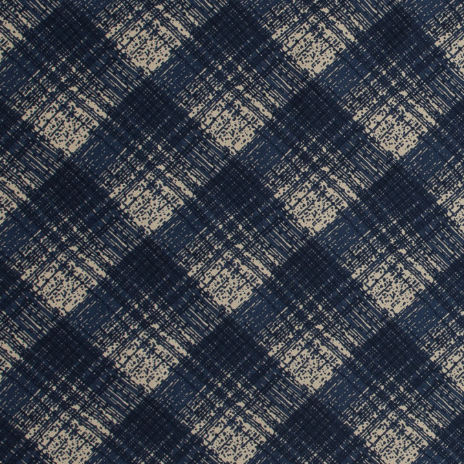 famous nyc designer blue abstract plaid silk twill 318720 11