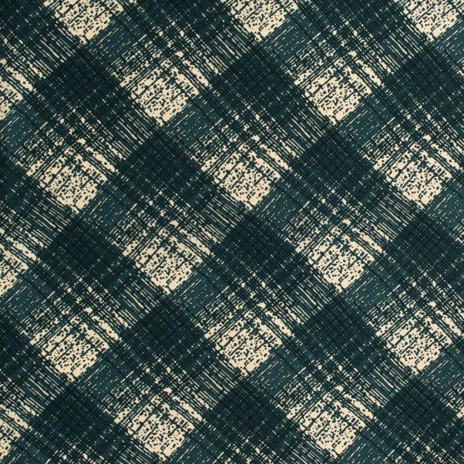 famous nyc designer forest green abstract plaid silk twill 318712 11
